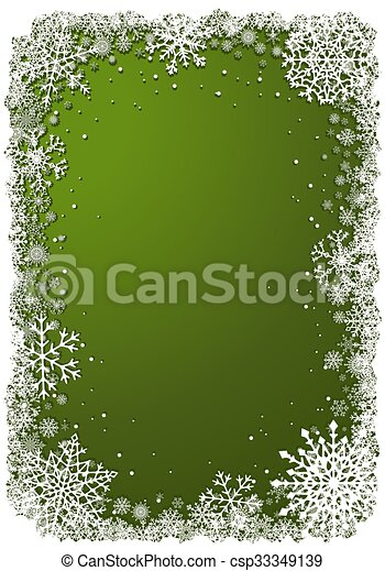Green Christmas background with frame of snowflakes - csp33349139