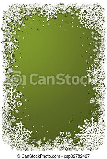 Green Christmas background with frame of snowflakes - csp32782427