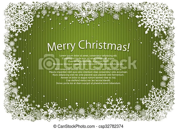 Green Christmas background with frame of snowflakes - csp32782374