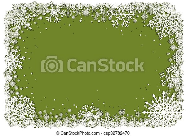 Green Christmas background with frame of snowflakes - csp32782470