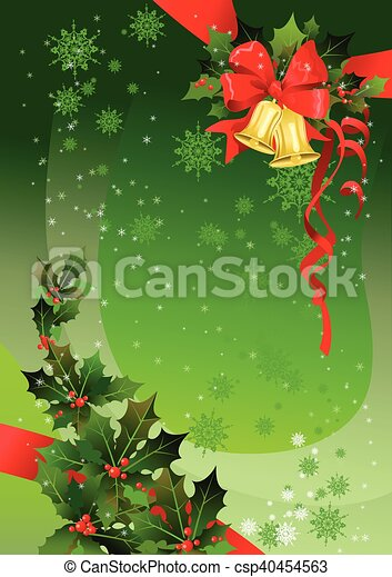 Green Christmas background with holly - csp40454563