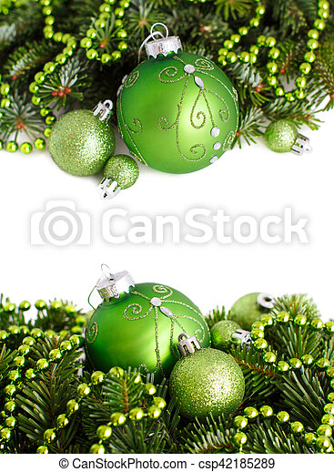 Green Christmas Ornaments Border