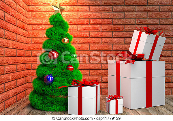 green Christmas tree and giftboxes - csp41779139
