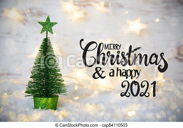 Christmas Tree Lightings Near Me 2021 Green Christmas Tree Lights Star Snow Merry Christmas And A Happy 2021 English Calligraphy Merry Christmas And A Happy Canstock