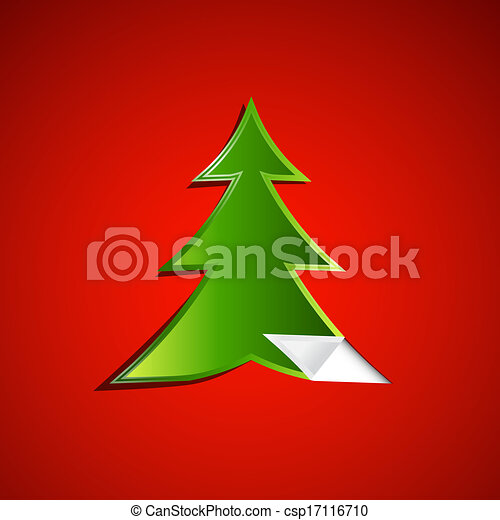Green Christmas Tree on Red Background  - csp17116710