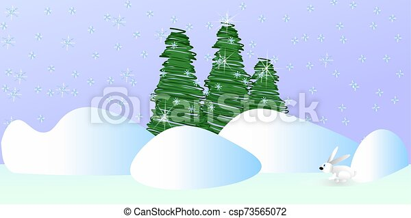 green Christmas trees on a gray background with snowflakes and snowdrifts a white hare sitting in the snow - csp73565072