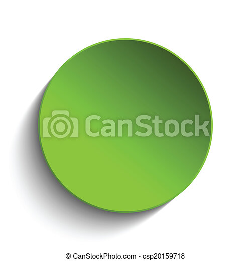 Green Circle Button on White Background - csp20159718