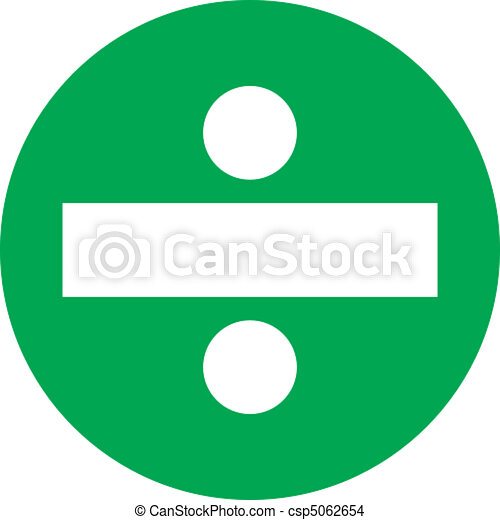 Green circle division. A white division symbol in a green ...