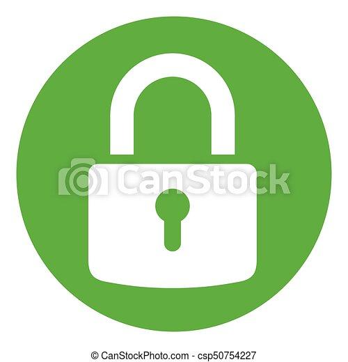 green circle padlock icon - csp50754227