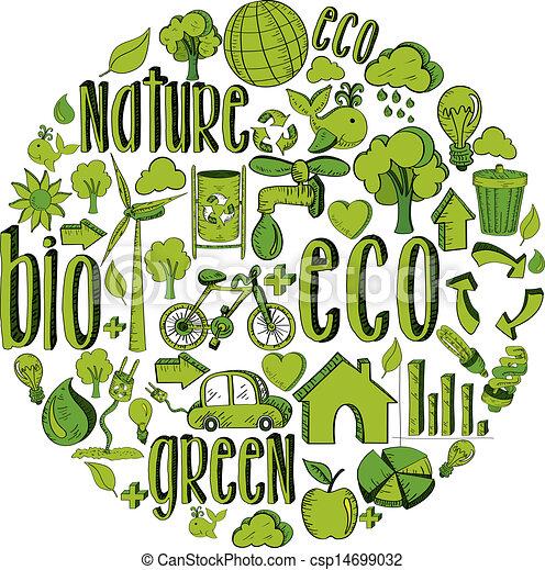 Green circle with environmental icons - csp14699032