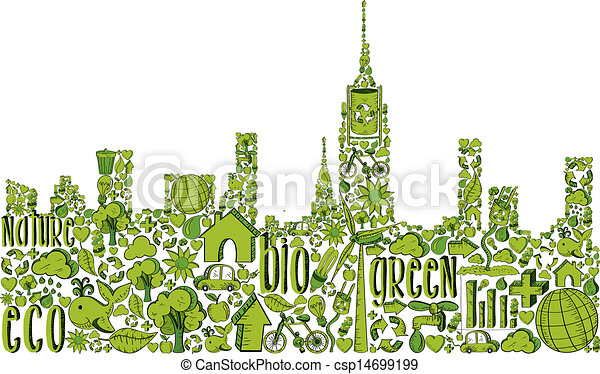 Green city silhouette with environmental icons - csp14699199