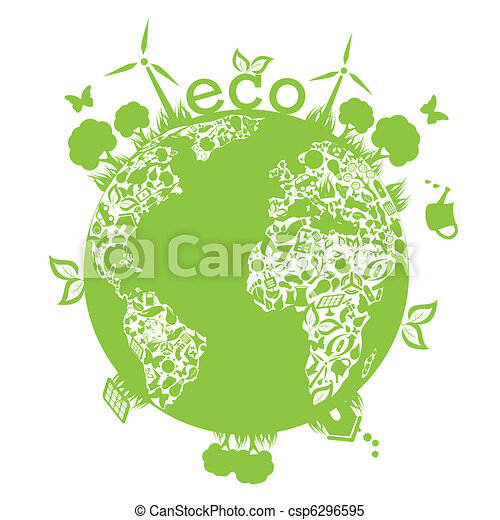Green Clean Earth Eco Symbols In Green World