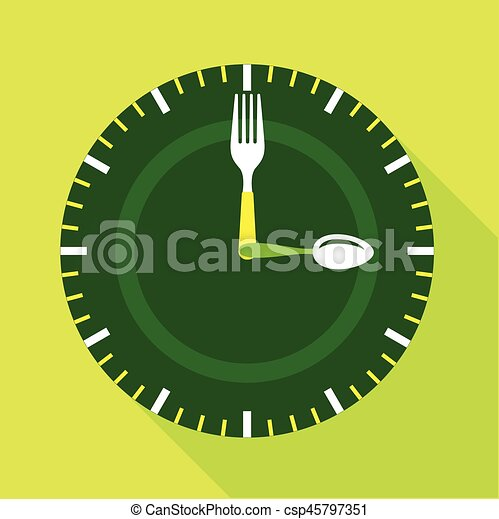 Green clock face icon, flat style - csp45797351