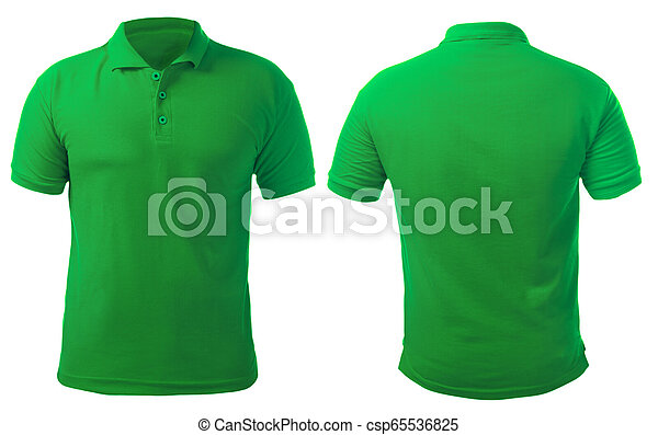 Green Collared Shirt Design Template Blank Collared Shirt Mock Up Template Front And Back View Isolated On White Plain