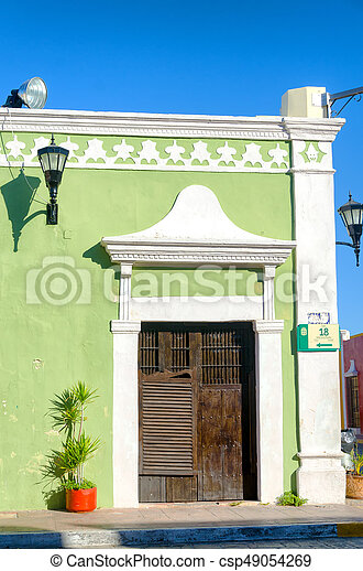Green Colonial House - csp49054269