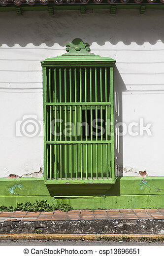 Green Colonial window - csp13696651
