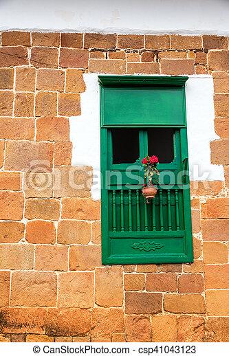 Green Colonial Window - csp41043123