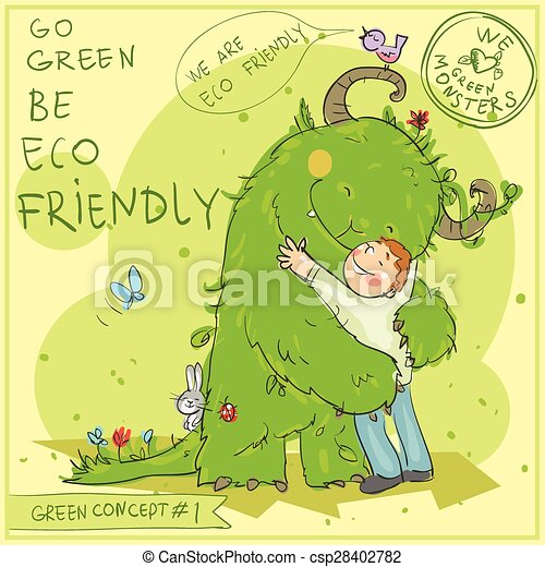 Green Concept 1 - Hand drawn series. - csp28402782