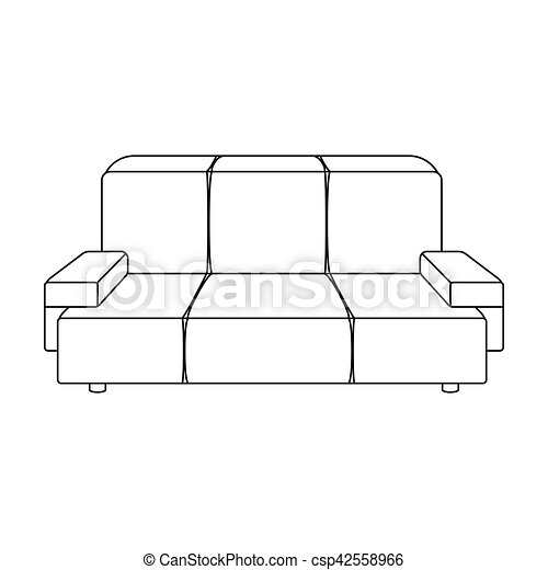 Green Couch Icon In Outline Style Isolated On White Background