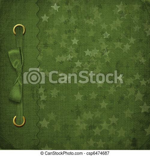 Green cover for an album with photos - csp6474687