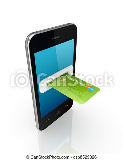 Green credit card and modern mobile phone. - csp8523326