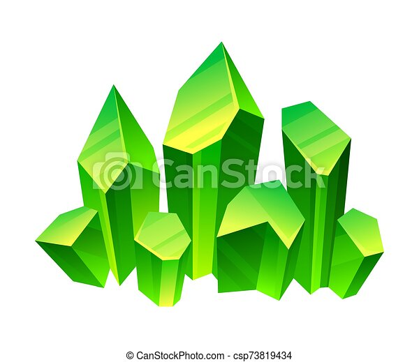Green crystals. Vector illustration on a white background. - csp73819434
