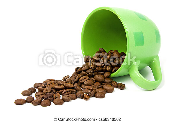 green cup with coffee beans - csp8348502
