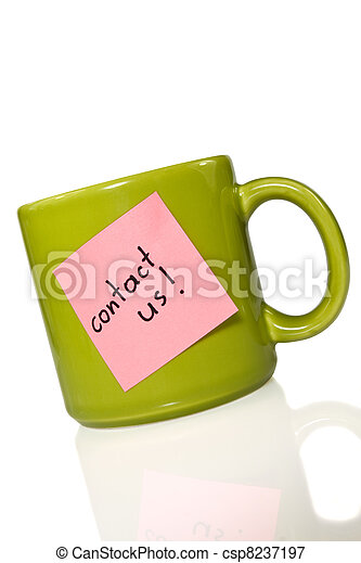 """green cup with note """"contact us!"""" - csp8237197"""