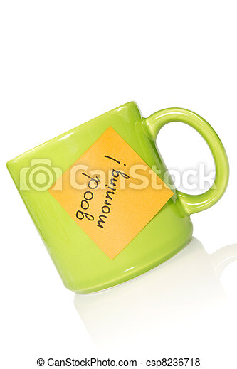 """green cup with note """"good morning!"""" - csp8236718"""