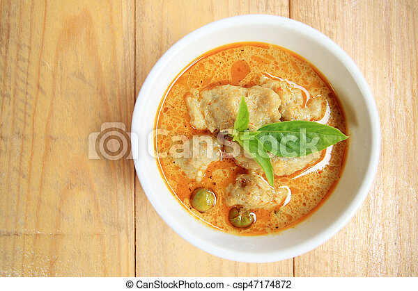Green Curry With fish ball and eggplant, Thai delicious food - csp47174872