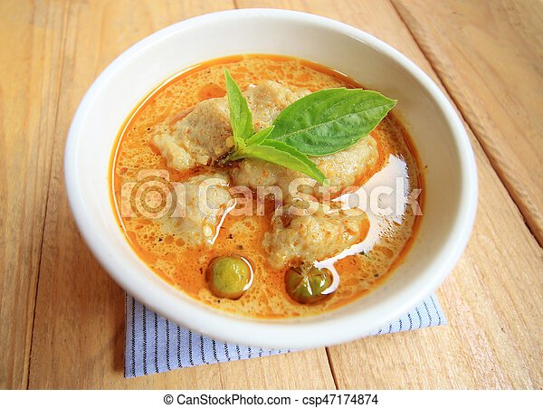 Green Curry With fish ball and eggplant, Thai delicious food - csp47174874