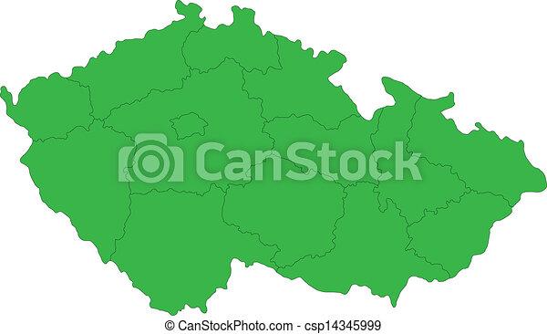 Green Czech Republic map - csp14345999