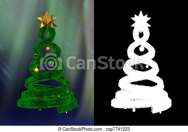 Green design pine and golden balls with alpha channel - csp7741223