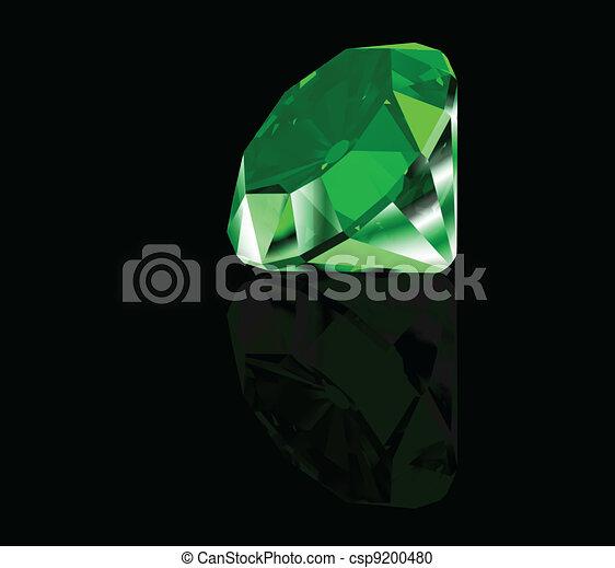 Green diamond on black background. Vector - csp9200480