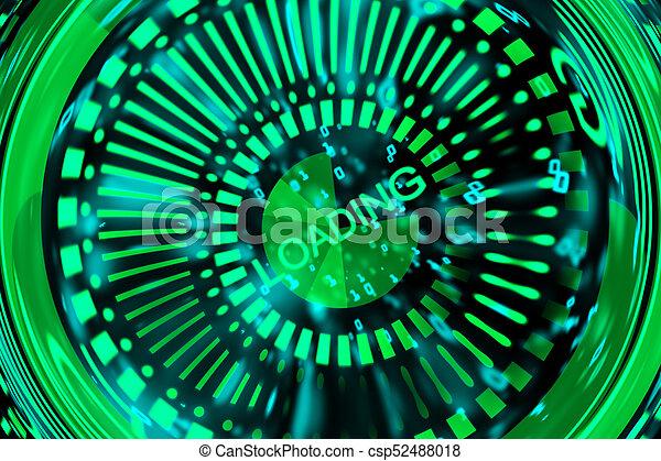 Green digital button - csp52488018