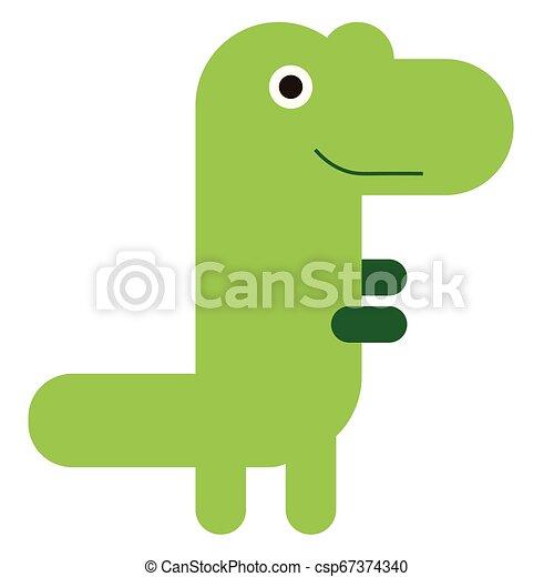 Green dinosaur flat illustration on white - csp67374340