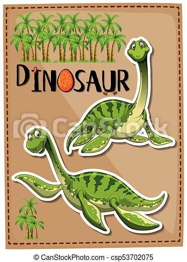 Green dinosaur with happy face - csp53702075