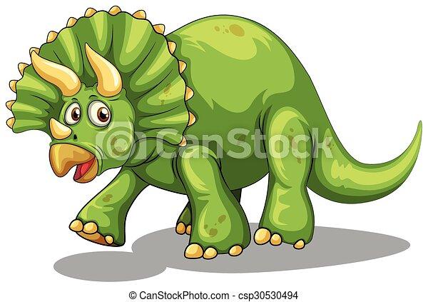 Green dinosaur with horns - csp30530494