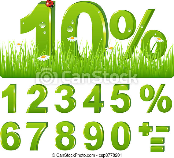 Green Discount  In Grass And Set Of Figures and Signs  - csp3778201