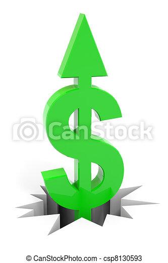 Green dollar sign with arrow up breaking floor