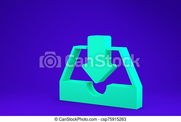 Green Download inbox icon isolated on blue background. Minimalism concept. 3d illustration 3D render - csp75915263