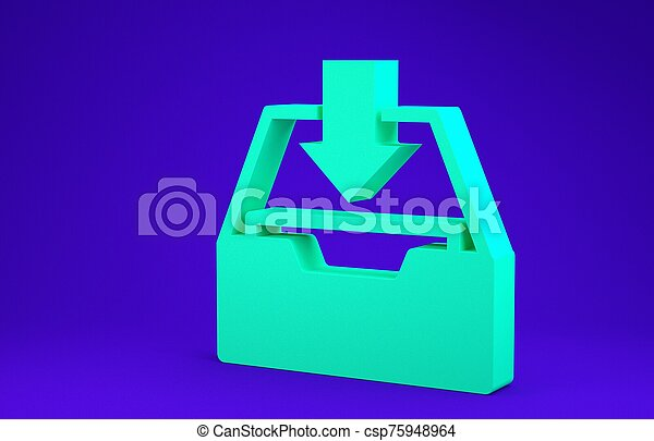Green Download inbox icon isolated on blue background. Add to archive. Minimalism concept. 3d illustration 3D render - csp75948964