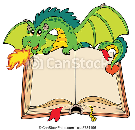 Green dragon holding old book - csp3784196