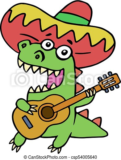 Green dragon in Mexican hat and with guitar on white background - csp54005640