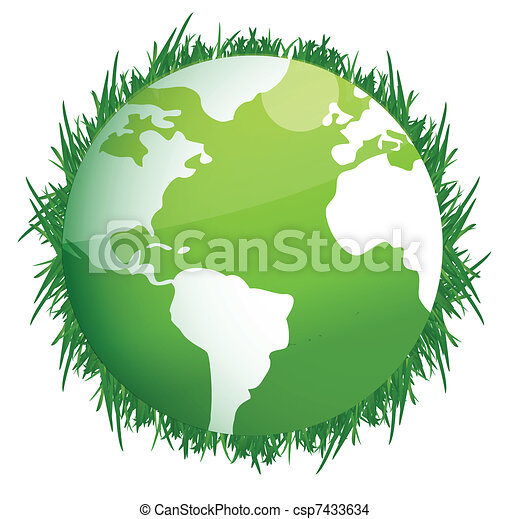 Green Earth. Illustration on white - csp7433634