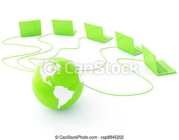 green earth is strung wires and in surroundings computers - csp8845202