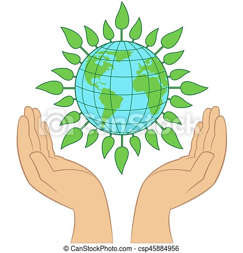 Green Earth planet in human hands - csp45884956