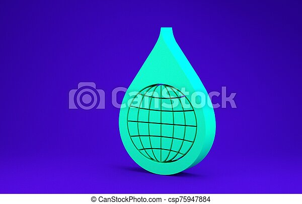 Green Earth planet in water drop icon isolated on blue background. World globe and water drop. Saving water and world environmental protection. Minimalism concept. 3d illustration 3D render - csp75947884