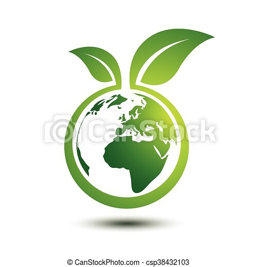 Green earth concept with leaves,vector illustration. Green Earth Logo Vector