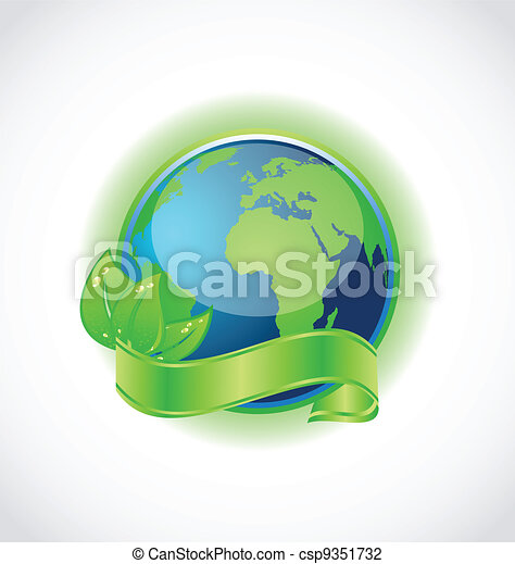 Green earth with leaves wrapped ribbon isolated - csp9351732